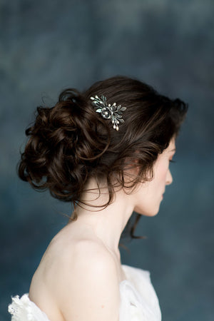 Antique Silver Leaf and Flower Hair Comb - Made in Toronto Canada - Blair Nadeau Millinery - Whitney Heard Photography