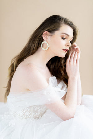 silver oversized ivory pearl earrings with studs - blair nadeau bridal adornments - whitney heard photography