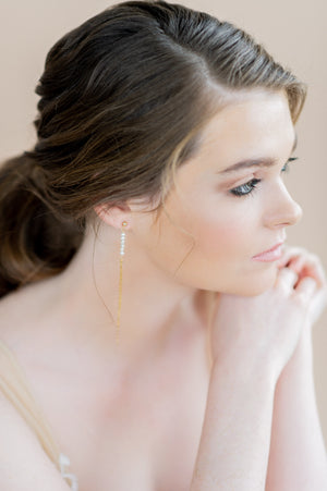 Tiny Gold Tassel Freshwater Pearl Earrings - Handmade in Toronto Ontario Canada, Blair Nadeau Bridal Adornments - Whitney Heard Photography