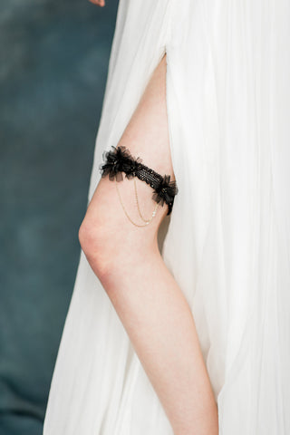 Black Gold Flower Crystal Lace Bridal Garter - handmade in Toronto - Blair Nadeau Millinery - Whitney Heard Photography