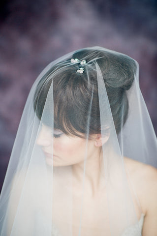 Blush Bridal Drop Veil with Hair Pins - Handmade in Toronto Canada - Blair Nadeau Bridal Adornments - Whitney Heard Photography