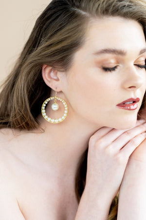 gold swarovski pearl oversized bridal hoop earrings - blair nadeau bridal adornments - whitney heard photography
