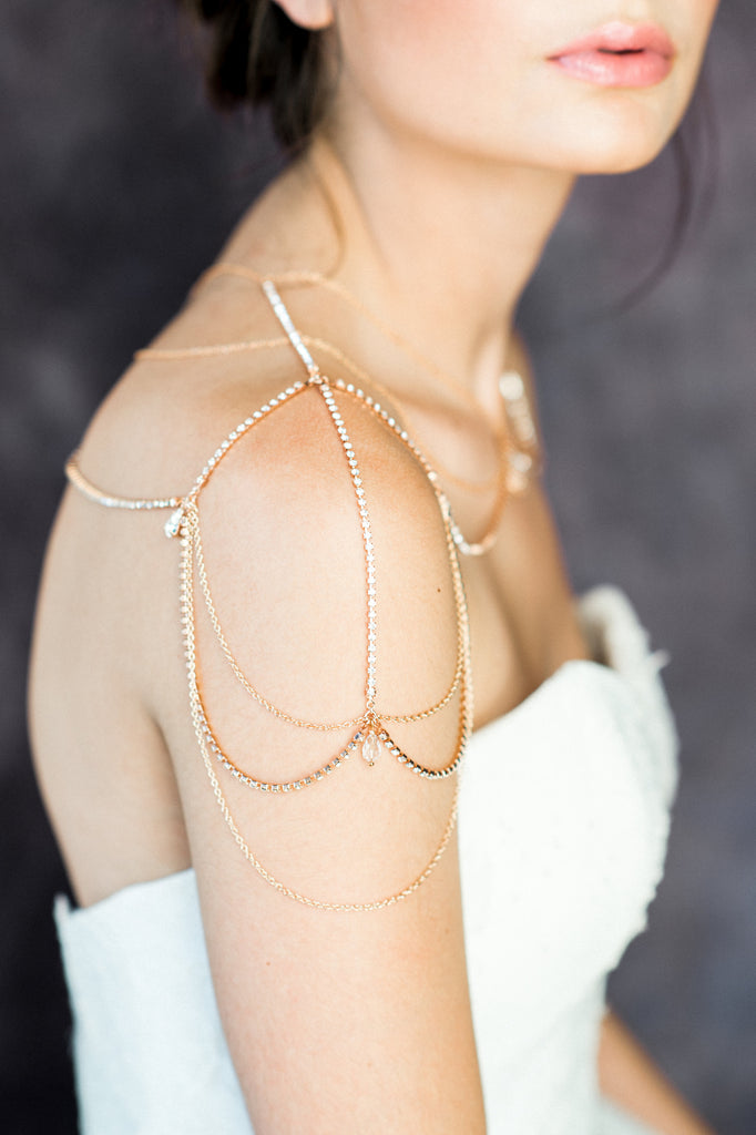 Rose Gold Teardrop Bridal Shoulder Necklace - Handmade in Toronto Canada - Blair Nadeau Bridal Adornments - Whitney Heard Photography