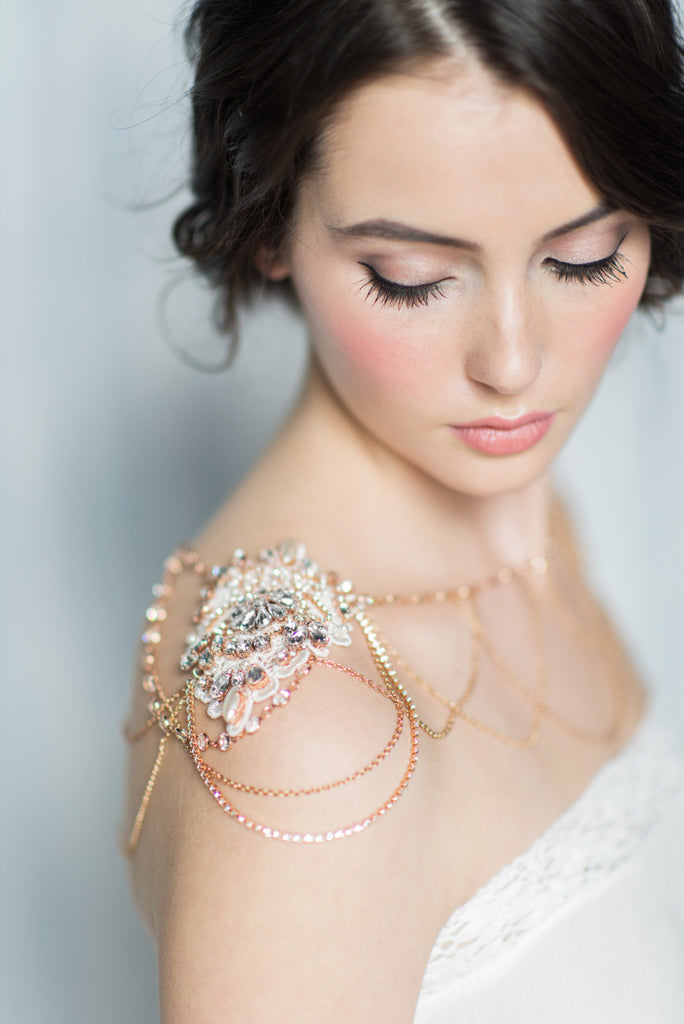 Rose Gold Crystal Bridal Shoulder Necklace - Handmade in Toronto Canada - Blair Nadeau  Millinery Bridal Adornments - Whitney Heard Photography