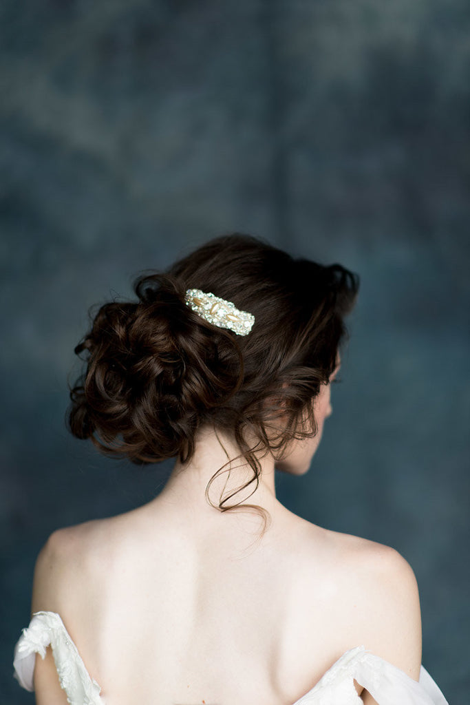 Crystal & Pearl Beaded Bridal Hair Comb - Handmade in Toronto Canada by Blair Nadeau Millinery - Whitney Heard Photography