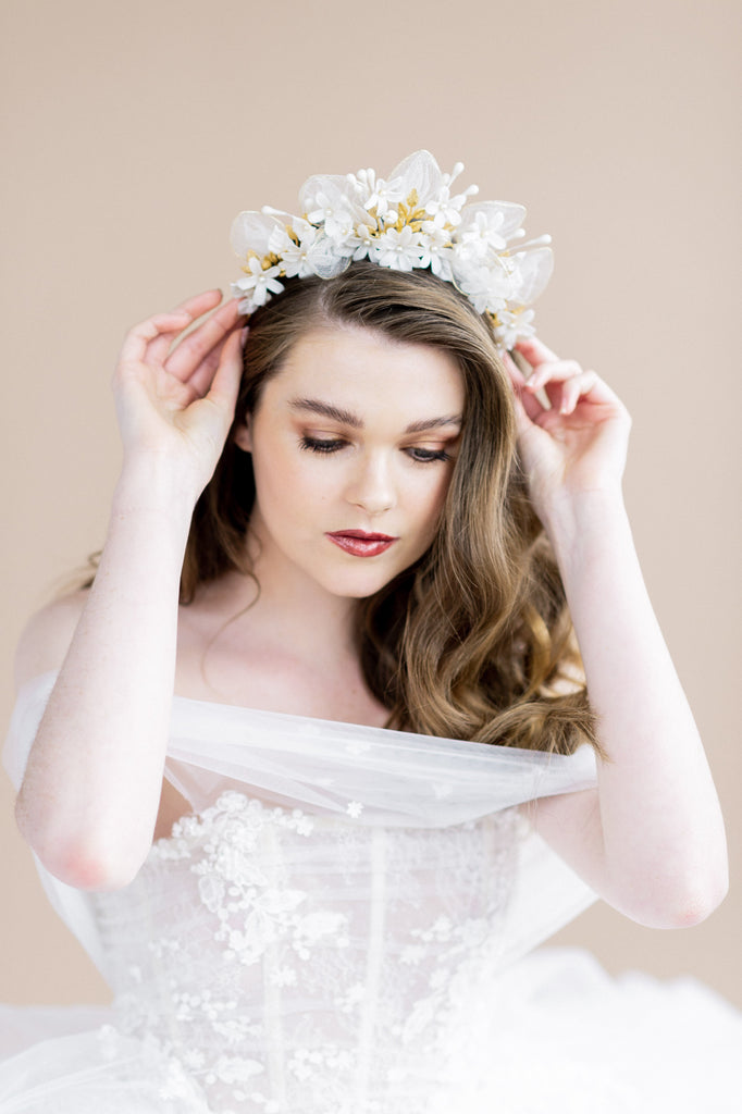 tall statement clay flower bridal crown with rose gold leaves and pearls - blair nadeau bridal adornments - handmade in toronto ontario canada - whitney heard photography