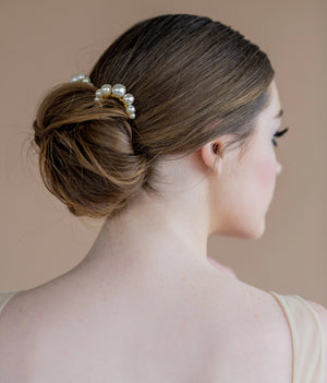 gold modern large ivory swarovski pearl bridal hair fork - blair nadeau bridal adornments - handmade in toronto ontario canada - whitney heard photography