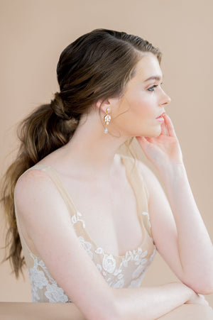 Gold Pearl & White Crystal Chandelier Drop Earrings - handmade in Toronto Ontario Canada - Blair Nadeau Bridal Adornments - Whitney Heard Photography
