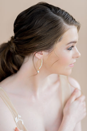 Gold long tiny freshwater pearl bridal drop earrings - blair nadeau bridal adornments - whitney heard photography