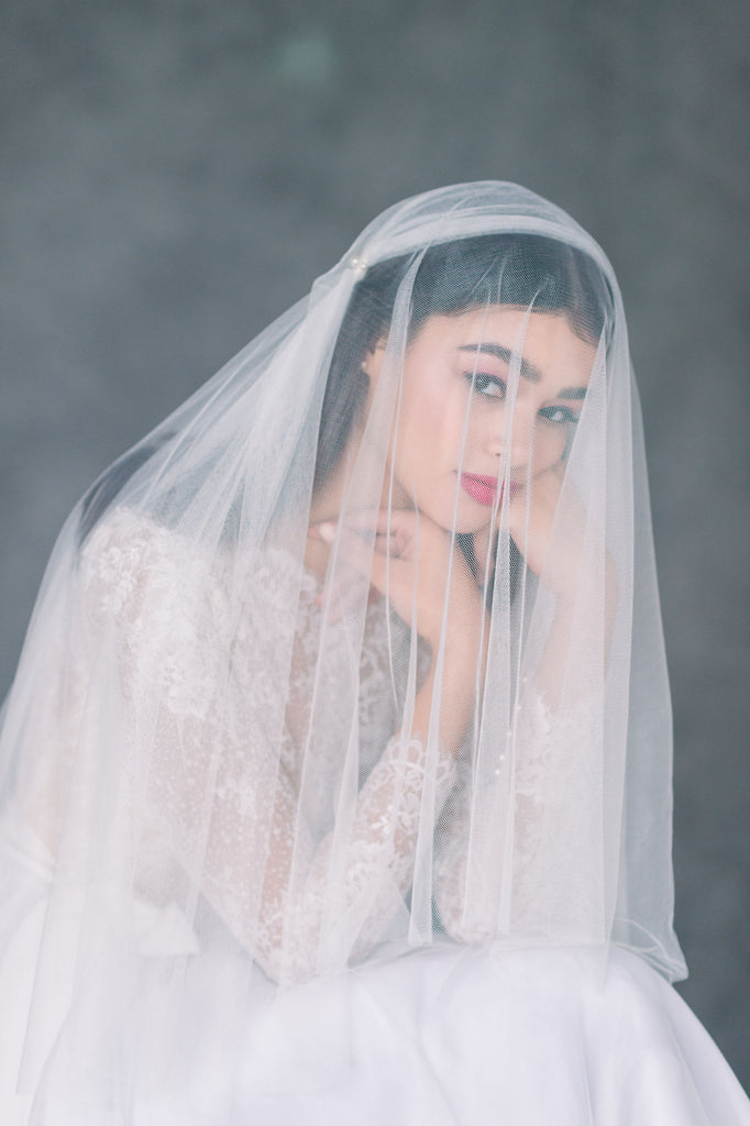 Pale Ivory Super Soft Vintage Inspired Juliet Cap Veil with Blusher - Made in Toronto Ontario Canada - Blair Nadeau Bridal - Whitney Heard Photography
