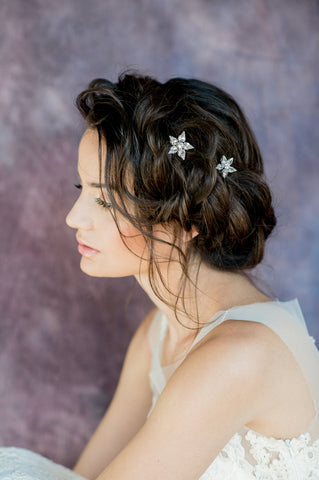 Silver Crystal Starburst Hair Pins - Handmade in Toronto Canada - Blair Nadeau Millinery - Whitney Heard Photography