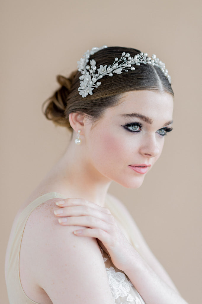 silver clay flower pearl and crystal double bridal headband crown - blair nadeau bridal adornments - handmade in toronto ontario canada - whitney heard photography