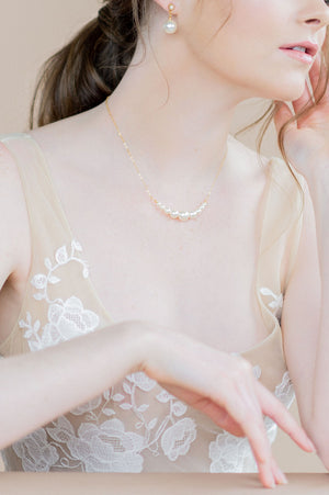 classic gold swarovski ivory pearl bridal necklace - made in toronto ontario canada - blair nadeau bridal adornments - whitney heard photography