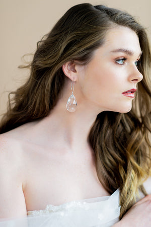 Silver Oversized Swarovski Crystal Teardrop Bridal Earrings - Handmade in Toronto Ontario Canada, Blair Nadeau Bridal Adornments - Whitney Heard Photography