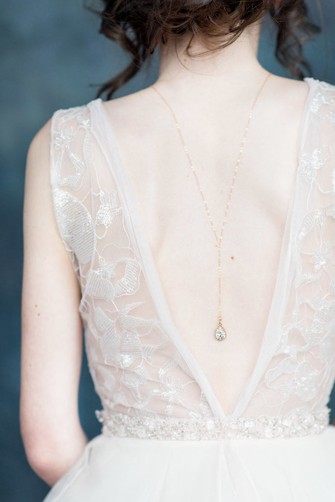 Rose Gold Crystal Back Necklace - Handmade in Toronto Canada - Blair Nadeau Millinery - Whitney Heard Photography