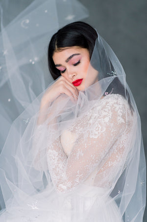 Off White Starburst Celestial Single Tier Wedding Veil - Made in Toronto Ontario Canada - Blair Nadeau Bridal - Whitney Heard Photography