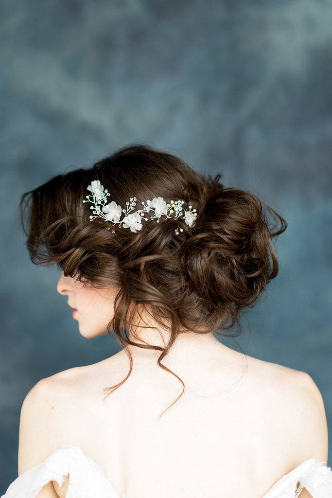 Ivory Silk Flower Bridal Hair Vine - Handmade in Toronto Canada - Blair Nadeau Millinery
