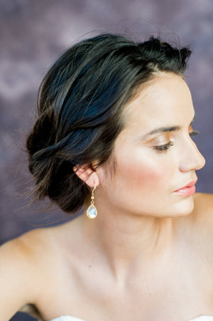 Gold Modern Simple Teardrop Bridal Earring - Handmade Toronto Canada - Blair Nadeau Bridal Adornments - Whitney Heard Photography