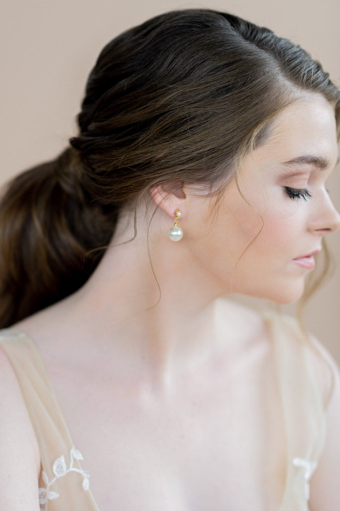 Gold Large Round Ivory Pearl Drop Earrings with Pearl Studs - blair nadeau bridal adornments - whitney heard photography