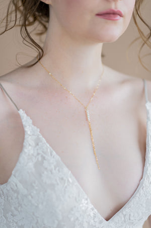 gold tiny freshwater pearl dainty chain fringe bridal necklace - made in toronto ontario canada - blair nadeau bridal adornments - whitney heard photography