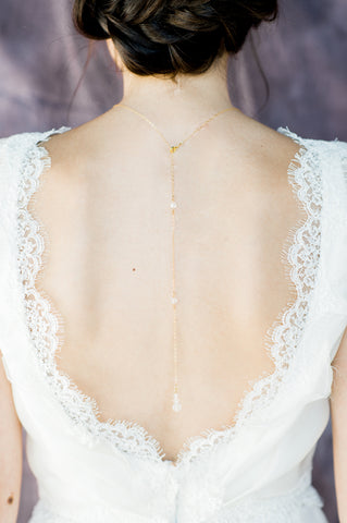 Gold Crystal Slider Bridal Back Necklace - Handmade in Toronto Canada - Blair Nadeau Bridal Adornments - Whitney Heard Photography