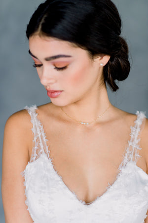Gold Swarovski Pearl Beaded Bar Bridal Necklace - Made in Toronto Ontario Canada, Blair Nadeau Bridal, Whitney Heard Photography