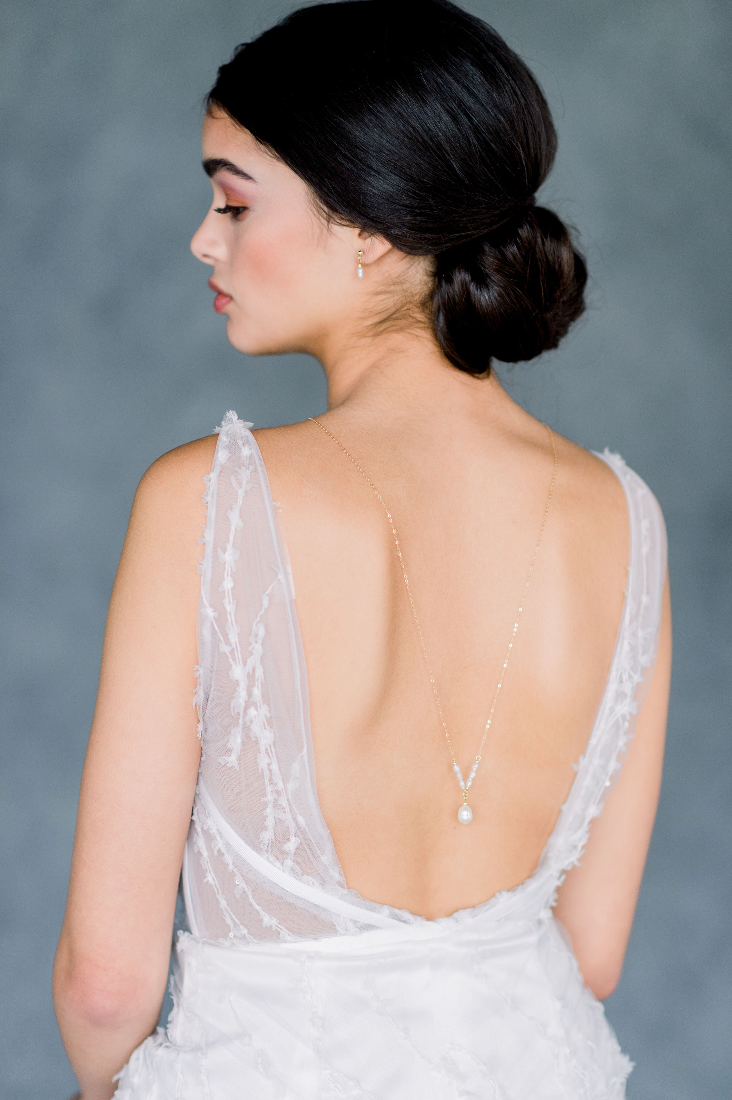 Rose Gold Deep V Open Back Wedding Gown Back Necklace Jewelry with Vintage Freshwater Pearl Drop - Made in Toronto Ontario Canada - Blair Nadeau Bridal - Whitney Heard Photography