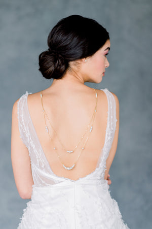 Gold Double Layer Multi Strand Tiered Swarovski Pearl Bridal Back Necklace for Open Back Wedding Dresses - Made in Toronto Ontario Canada - Blair Nadeau Bridal - Whitney Heard Photography