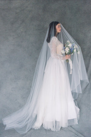 Ivory Extra Long Simple Tulle Veil with Blusher - Made in Toronto Ontario Canada - Blair Nadeau Bridal - Whitney Heard Photography