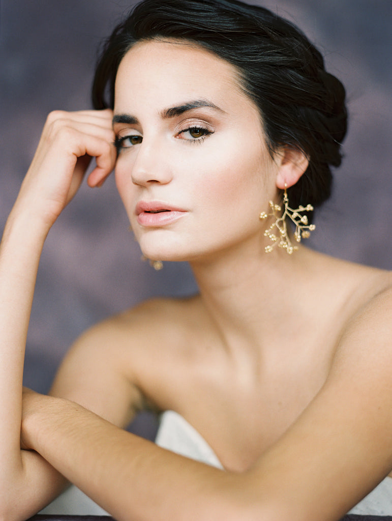 Gold Babies Breath Statement Bridal Earrings - Handmade in Toronto Canada - Blair Nadeau Bridal Adornments - Whitney Heard Photography