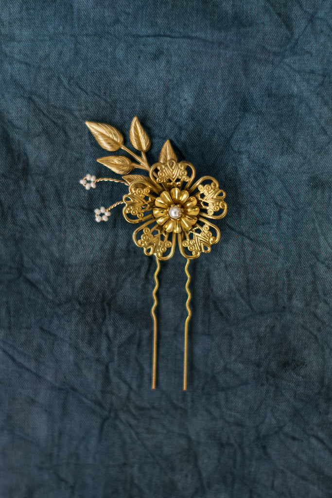 Golden Filigree Flower Hair Pin - Handmade in Toronto Canada - Blair Nadeau Millinery - Whitney Heard Photography