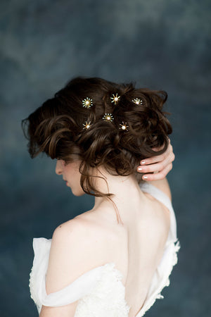 Gold Pearl & Crystal Starburst Bridal Hair Pins - Handmade in Toronto Canada - Blair Nadeau Millinery - Whitney Heard Photography