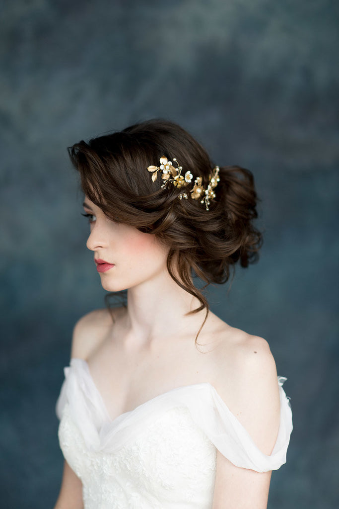 Gold & Ivory Floral Bridal Hair Vine - Made in Toronto Canada - Blair Nadeau Millinery - Whitney Heard Photography