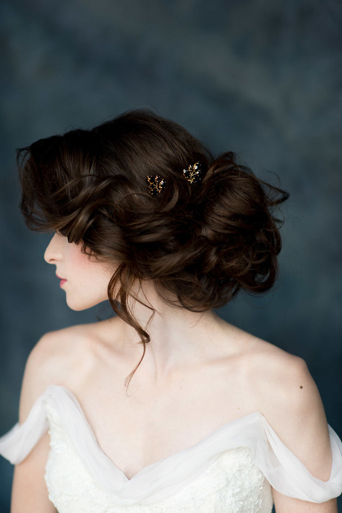 Black & Gold Crystal Bridal Hair Pin Set - Made in Toronto Canada - Blair Nadeau Millinery - Whitney Heard Photography