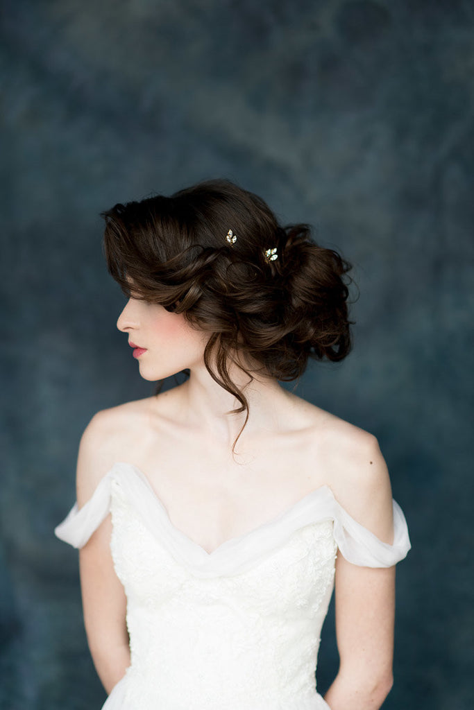 Gold Crystal Leaf Bridal Hair Pins - Made in Toronto Canada - Blair Nadeau Millinery - Whitney Heard Photography