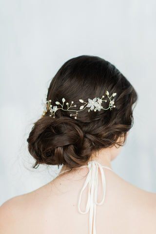 Crystal pearl flower hair vine - handmade in Toronto Canada - Blair Nadeau Millinery - Whitney Heard Photography