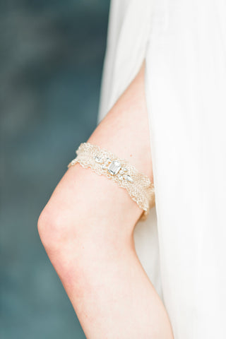 Gold ruffle crystal bridal garter - handmade in toronto - blair nadeau millinery - whitney heard photography