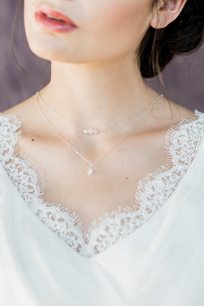 Sterling Silver Leaf Bridal Back Necklace - Handmade in Toronto Canada - Blair Nadeau Bridal Adornments - Whitney Heard Photography