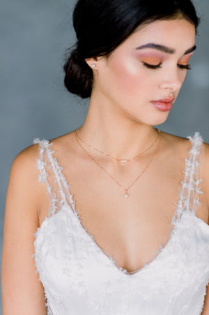 Rose Gold Beaded Bar Double Layer Swarovski Pearl Pendant Necklace - Made in Toronto Canada, Blair Nadeau Bridal, Whitney Heard Photography
