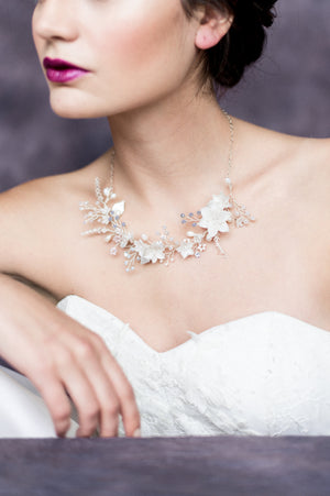 Silver Leaf Crystal Pearl Flower Bridal Vine Necklace - Handmade in Toronto Canada - Blair Nadeau Bridal Adornments - Whitney Heard Photography