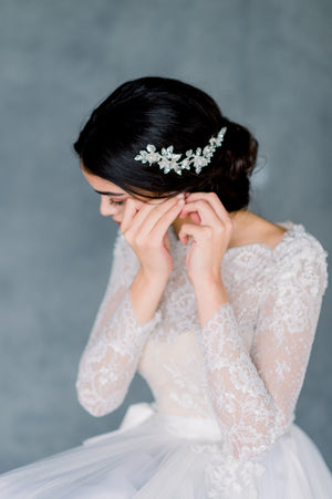 Silver Crystal Leaf Clay Flower Bridal Hair Vine for Updo - Made in Toronto Ontario Canada - Blair Nadeau Bridal - Whitney Heard Photography
