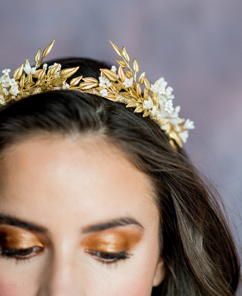 Gold & Ivory Laurel Leaf Crown - Handmade in Toronto Canada - Blair Nadeau Bridal Adornments - Whitney Heard Photography
