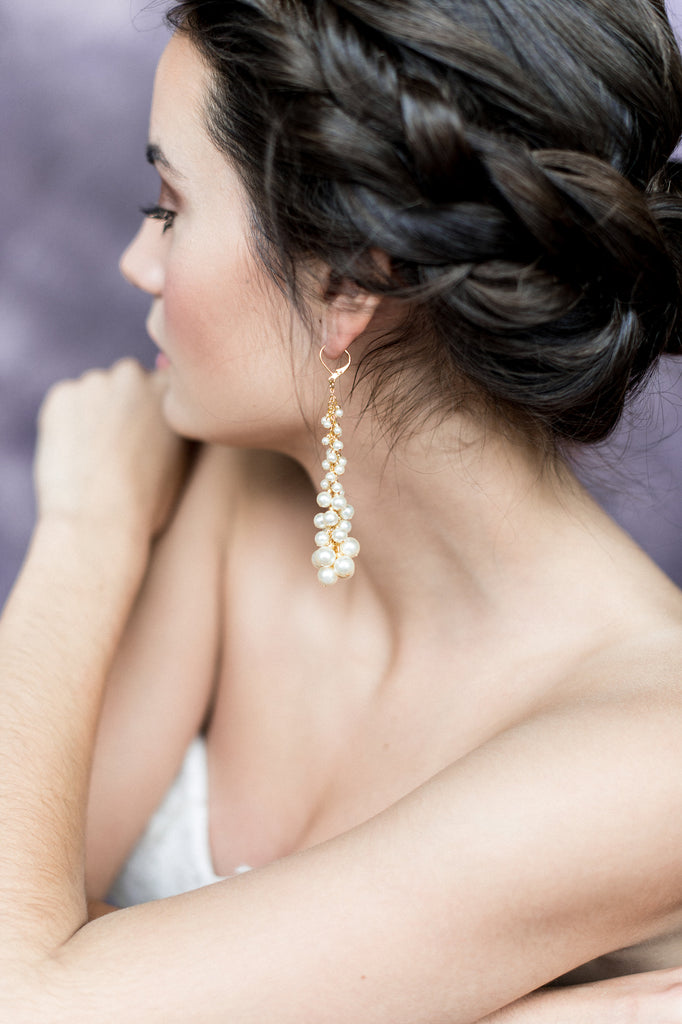 Gold Pearl Cluster Bridal Drop Earrings - Handmade in Toronto Canada - Blair Nadeau Bridal Adornments - Whitney Heard Photography