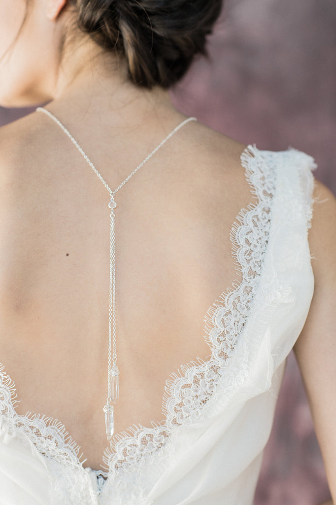 Polished Quartz Tiered Bridal Back Necklace - Handmade in Toronto Canada - Blair Nadeau Bridal Adornments - Whitney Heard Photography