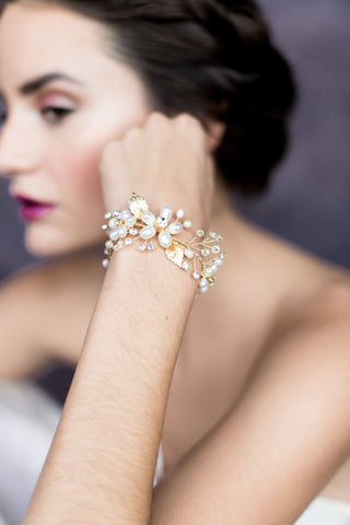 Gold Pearl Flower & Crystal Bridal Bracelet - Handmade in Toronto Canada - Blair Nadeau Bridal Adornments - Whitney Heard Photography