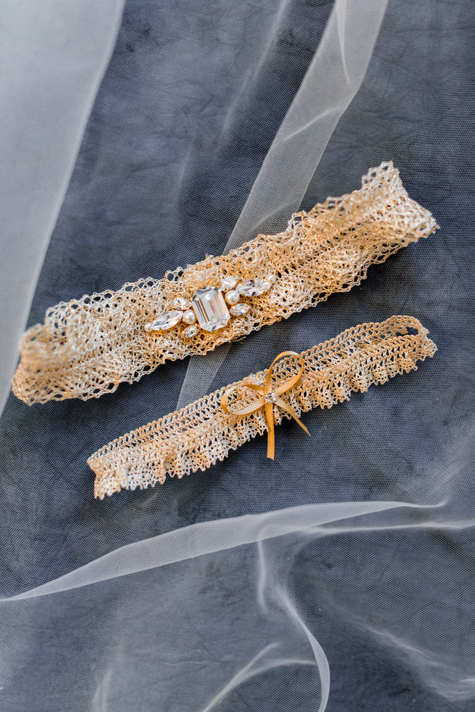 Gold Crystal Metallic Lace Ruffle Garter with Bow - Handmade in Toronto - Blair Nadeau Millinery - Whitney Heard Photography