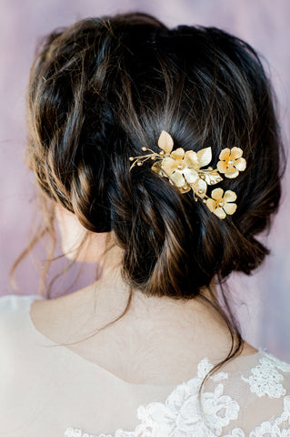 Golden Floral Branch Hair Vine Hair Comb, Handmade in Toronto Canada by Blair Nadeau Bridal Adornments, Photography by Whitney Heard