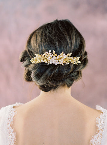 Gold and Ivory Laurel Leaf Bridal Hair Comb - Handmade in Toronto Canada - Blair Nadeau Bridal Adornments - Whitney Heard Photography