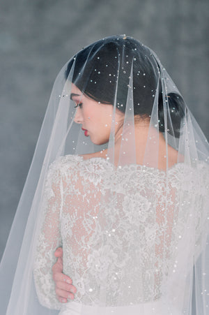 Ivory Statement Scattered Swarovski Crystal and Pearl Bridal Drop Veil - Made in Toronto Ontario Canada - Blair Nadeau Bridal - Whitney Heard Photography