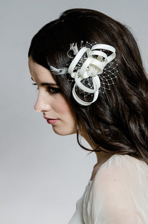whimsical silk and birdcage veil fascinator accented with feathers crystals and pearls - made in toronto ontario canada - blalr nadeau bridal - jnkimagery